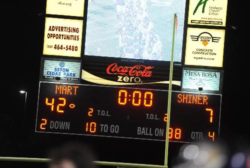 The Round Rock ISD stadium scoreboard tells the final tale of the game.